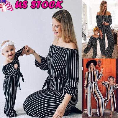 US Mother & Daughter Kid Girl Long Sleeve Family Romper Clothes Casual Jumpsuits
