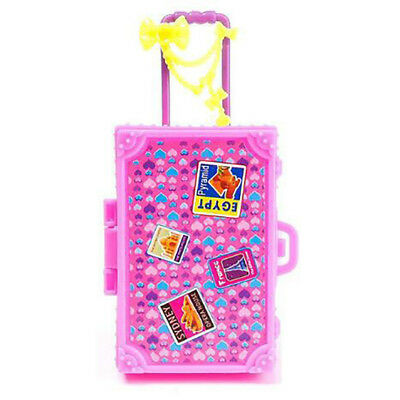 Pink Plastic Mini Suitcase Luggage Box Trunk for Barbie Doll Travel Accessories