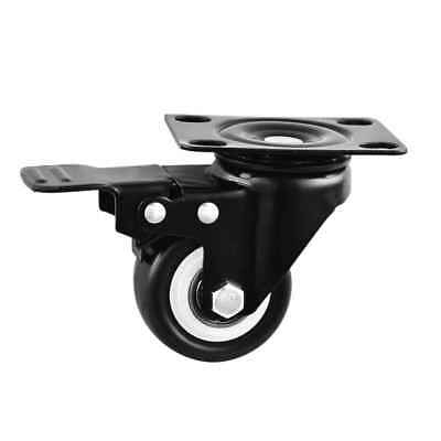 "2"" 360° Swivel Round Brake Wheel Caster Black for Bakery Laundry Cart Black"