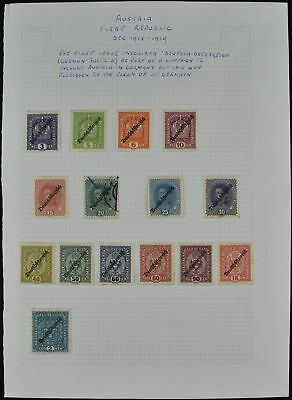 Austria 1918-9 Mint/MH Optd Album Page Of Stamps #V7477