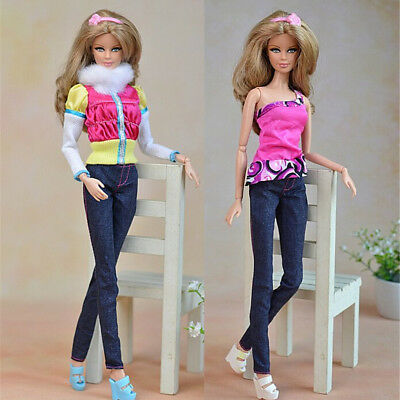3x/Set Fashion Outfit Casual Dress Up Pants Clothes  For Doll Accessory Kj