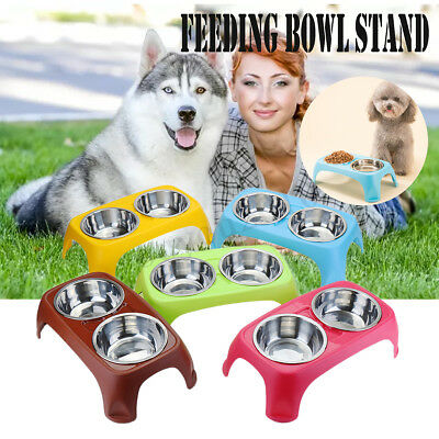 Non Slip Raised Stand Food Dish Water Bowl Feeders For Cat Pet Dog Puppy 2 Size