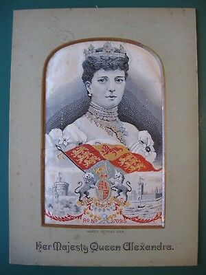 Stevengraph style silk picture HER MAJESTY QUEEN ALEXANDRA W H Grant Coventry