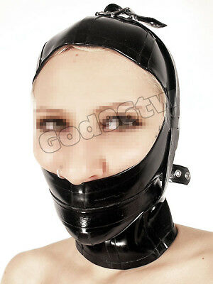 100% Latex Rubber Gummi Maske Hood Mask 0,8mm  lace up Catsuit Ganzanzug NEU