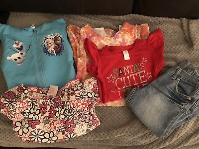 Bulk Lot Girls Size 6, 5 Items Frozen Top,Xmas Top,Dresses 3/4 Jeans