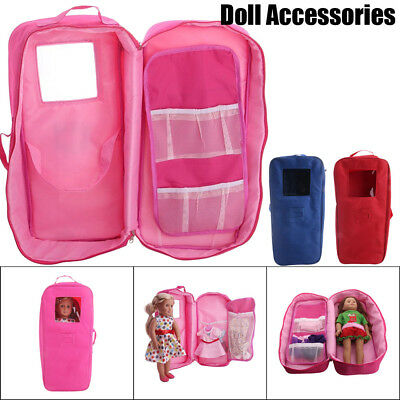 Doll Travel Case Suitcase Storage Bag Wardrobe For American Girl 18inch Doll Lot
