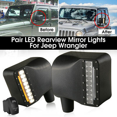 For Jeep Wrangler Side Rearview Mirror Housing + LED Light Turn Signal Lamp