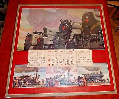 """Pennsylvania Railroad Wall Calendar """"One Hundred Years"""" Frank Reilly 1946 WWII"""