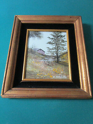 CABIN I IN THE WOODS WATERCOLOR ON BOARD PAINTING BY J.L. Egenstafer lower right