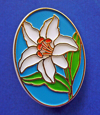 BUY1&GET1@50%~American Greetings PIN Easter LILY Flower CAMEO Vtg Holiday Brooch
