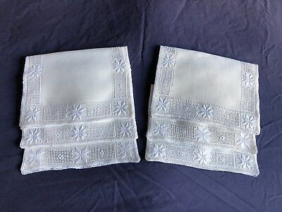 Set 6 Vintage Hand Embroidered Cypriot Lefkara Work Cream Linen Table Place Mats