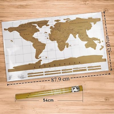 Big Scratch Off World Map Deluxe Edition Travel Log Journal Poster Xmas Gift