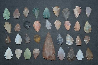"35 PC Flint Arrowhead Ohio Collection Points 1-3"" Spear Bow Stone Hunting Blade"