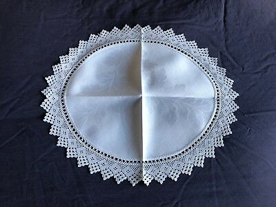Superb Vintage Large White Irish Linen Oval Table Centrepiece Crocheted Edging