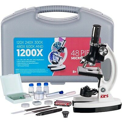 AMSCOPE 48pc Starter 120x-1200x Compound Microscope Science Kit for Kids (White)