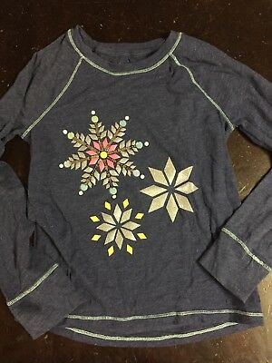 Cat And jack Girls Snowflake Winter Holiday T-Shirt Size 7/8