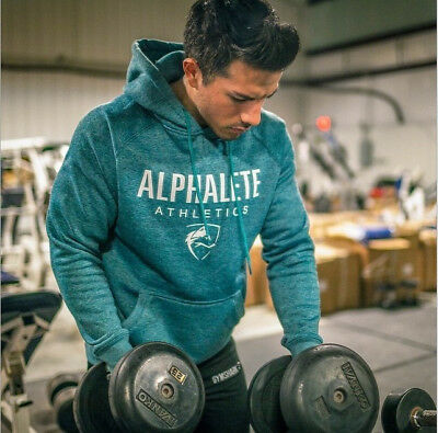 Alphalete Hoodie Mens Gym Long Sleeve Sweatshirt Pullover Fitness Alpha T-Shirt