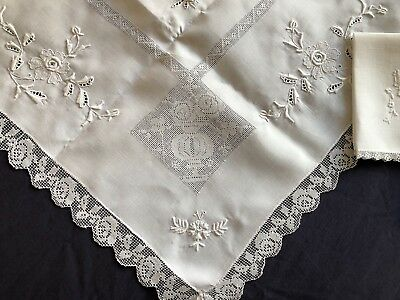 Vintage Hand Embroidered White Linen & Fine Needle Lace Table Cloth & 6 Napkins
