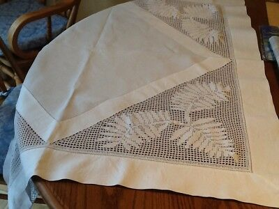 Hand stitched vintage Linen Cloth With Inset Crochet Panels