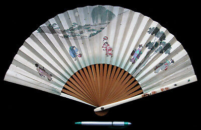 19th C MEIJI JAPANESE SHIBAYAMA ANTIQUE CARVED FAN SIGNED + INSECT INLAY CHINESE