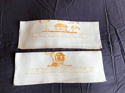 Pair Lovely Chinese Vintage White Linen Hand Embroidered Guest / Hand Towels