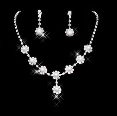 Daisy Flower Faux Pearl Crystal Wedding Bridal Bride Prom Necklace Earring Set