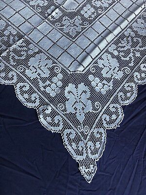 Lovely Vintage Cream Italian Hand Worked Burrato Lace Small Square Table Cloth