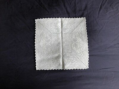 Lovely Vintage White Hand Crocheted Lace Square Table Centrepiece Large Doily