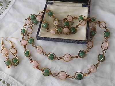 Vintage 1960s Long Genuine Real JADE & Rose Quartz Bead Necklace & Earrings