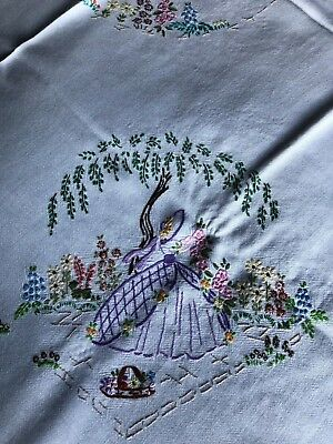 Pretty Vintage Hand Embroidered Crinoline Lady White Cotton & Rayon Tablecloth
