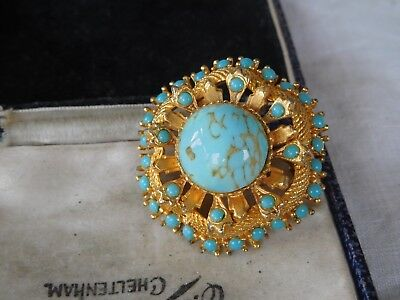 Pretty Vintage 1960s Speckled Turquoise Cabochon Brooch signed SPHINX