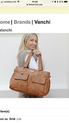 Vanchi Luxury Designer Tan Leather Nappy Changing Bag Very Good Condition