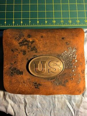 Civil War Ear Leather Cartridge Pouch and 2 Cartridge Boxes.