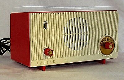 Vintage Zenith AM Radio B509 V Mid Century MCM Tube Two Tone Red White Works