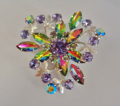 Beautiful Vintage Watermelon & AB Purple Rhinestone Silvertone Brooch #8