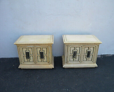 Hollywood Regency Mid Century Pair of Painted Nightstands by Link Taylor 3025