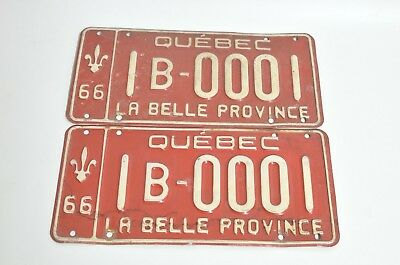 1966 Quebec Canada SAMPLE License Plate Tag 1B-0001 - Matching Pair Set