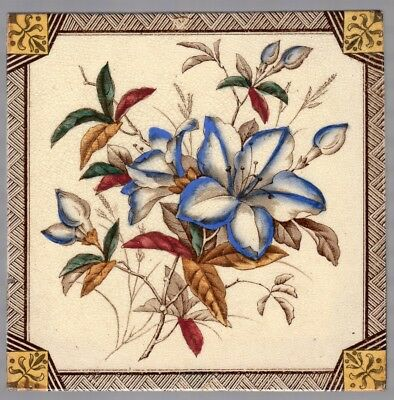 T G & F Booth - c1889 - Magnificent Flowers - Antique Victorian Polychrome Tile