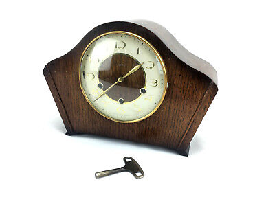 WOODEN MANTEL CLOCK SMITHS 8 Day WESTMINSTER CHIME KEY WINDER