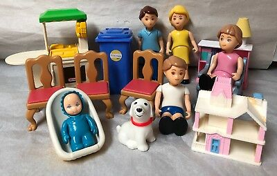Vintage Little Tikes Dollhouse People Family Dad Mom Girl Boy Baby