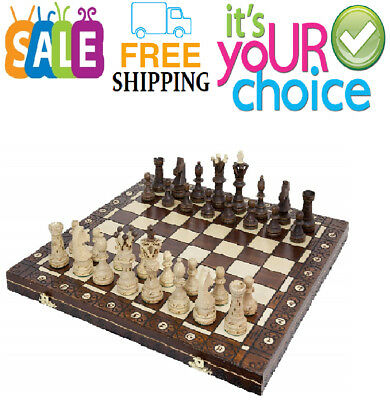 Vintage Wooden Chess Game Hand Carved Board Pieces Large 21 Inch Set Free-Shipp