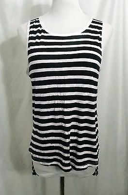 9db6495f Zara Tank Top Sleeveless Navy Blue White W & B Collection T-Shirt Hi Lo