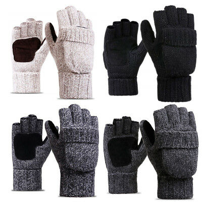 Winter Warm Fliptop Gloves Fingerless Pop Top Convertible Knit Wool Mittens