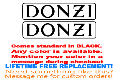 """MARINE GRADE YOUR COLOR CHOICE 131 PAIR OF 8/""""X36/"""" DONZI BOAT HULL DECALS"""