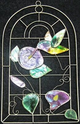 Vintage Hummingbird Stained Glass Hand Made And Painted Window Decoration
