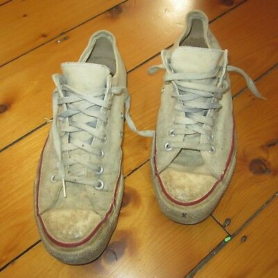 Vintage 70s Converse All Star Low Top White Trashed Usa Made Sneakers 9 5 Mens