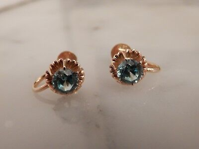 A Superb Pair Of 15 Ct Gold Art Deco Blue Zircon Earrings