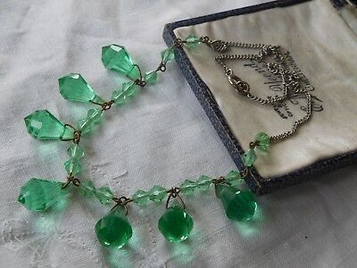 Pretty Art Deco Green Crystal Drop Necklace