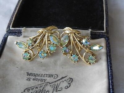 Dazzling Vintage 1950s Rainbow Crystal Clip On Earrings by Jewelcraft
