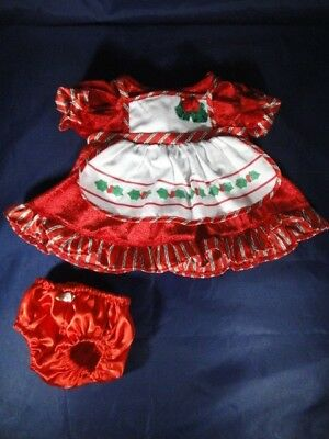 NEW- Red Velvet Christmas Holiday Dress w/ White Apron Trimmed in Holly, Panties